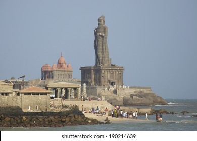 KANYAKUMARI, INDIA - FEB 1, 2012: The Thiruvalluvar Statue, Kanyakumari, Tamil Nadu India is of the Tamil poet, philosopher and author of the Thirukkural. It is at the southern most tip of India.