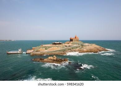 KANYAKUMARI, INDIA - JANUARY 12, 2017: View of the Vivekananda Rock and the temple in Kanyakumari, Tamil Nadu.