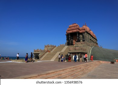 KANYAKUMARI, INDIA -MAR 22 : Unidentified people visit the Vivekananda Rock Memorial on March 22, 2019 in Kanyakumari, Tamil Nadu, India. This monument is a popular pilgrim centre in South India.