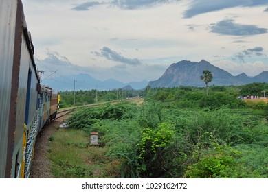 Kanyakumari, India - November, 22nd, 2017. Tropical landscape near Kanyakumari, India. View from the train.