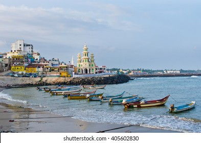 KANYAKUMARI, INDIA - OCT 14, 2014:View at town. Formerly known as Cape Comorin, is a town in Kanyakumari District in the state of Tamil Nadu in India.