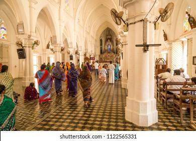 Kanyakumari, South India. 03/27/2014. People praying at Our Lady of Ransom Shrine church, Kanyakumari, South India