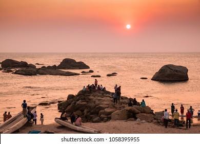 Kanyakumari, Tamil Nadu, India - February 11, 2017 : sunset at kanyakumari sunset point, Tamil Nadu, India