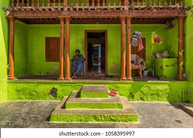 Kanyakumari, Tamil Nadu, India - February 12, 2017 : colorful house in town of kanyakumari, Tamil Nadu. India.