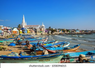 Kanyakumari, Tamil Nadu, India - February 12, 2017 : View at town Kanyakumari, formerly known as Cape Comorin in the state of Tamil Nadu in India.