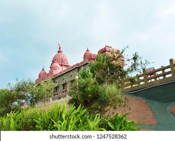 KANYAKUMARI, TAMIL NADU, INDIA, NOVEMBER 02, 2018: Vivekananda Rock Memorial on a cloudy day. Built in 1970 in honor of Swami Vivekananda who attained enlightenment on the rock. A pilgrimage center.