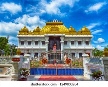 KANYAKUMARI, TAMIL NADU, INDIA, NOVEMBER 02, 2018: HDR image of Ramayana Darshanam exhibition hall and the 27-feet Veer Hanuman statue at Vivekananda Kendra. View from outside the main gate.
