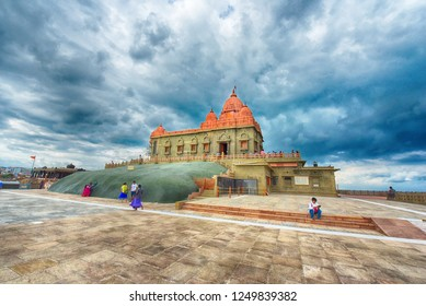 KANYAKUMARI, TAMIL NADU, INDIA, NOVEMBER 02, 2018: Side view of Vivekananda Rock Memorial on a cloudy day. Built in 1970 in honor of Swami Vivekananda who attained enlightenment on the rock. HDR image
