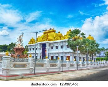 KANYAKUMARI, TAMIL NADU, INDIA, NOVEMBER 02, 2018: HDR image of Ramayana Darshanam exhibition hall and the statue of Lord Shiva at the Vivekananda Kendra.