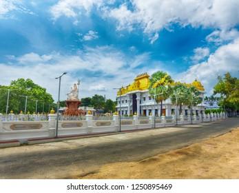 KANYAKUMARI, TAMIL NADU, INDIA, NOVEMBER 02, 2018: HDR image of Ramayana Darshanam Exhibition hall and the statue of Lord Shiva at the Vivekananda Kendra. Street view.