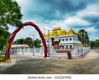 KANYAKUMARI, TAMIL NADU, INDIA, NOVEMBER 02, 2018: HDR image of Ramayana Darshanam exhibition hall and  the Shiva statue at Vivekananda Kendra, street view.