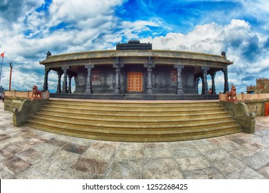 KANYAKUMARI, TAMIL NADU, INDIA, NOVEMBER 02, 2018: Wide angle view of the Parvati Devi Temple on the Vivekananda Memorial rock on a cloudy day. HDR image