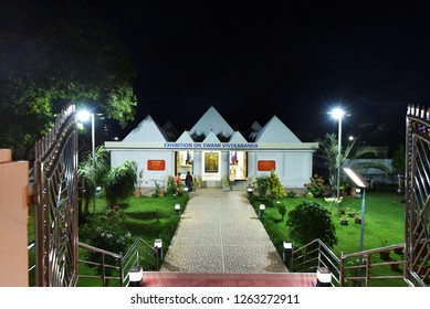 KANYAKUMARI, TAMIL NADU, INDIA, NOVEMBER 02, 2018: Wandering Monk Exhibition  Hall by night. Swami Vivekananda is referred to as the wandering monk.