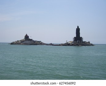 Kanyakumari, Tamil Nadu, India - Oct 7, 2008 View of Vivekananda Rock Memorial and Thiruvalluvar Statue on small islands on the southernmost Coromandel Coast, where two seas and an ocean meet