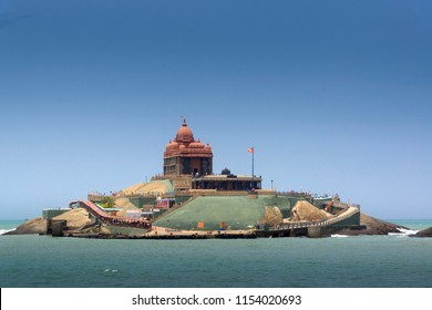 Kanyakumari,Tamil Nadu, India  - August 8, 2018 : Vivekananda Rock Memorial is a popular tourist monument in Vavathurai, Kanyakumari, India