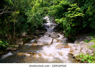 Kao chan waterfall river stream scenic in green forest at Suan phueng, Ratchaburi, Thailand.
