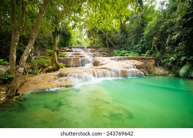 KAO FU waterfall in tropical forest of national park, Lampang, Thailand