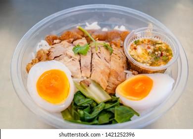 Kao Ka Moo Thai food,Thai Pork Leg Top view of stewed pork leg and boiled egg on rice