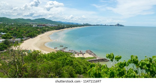 Kao Tao Beach panorama, a general view from Kao Tao temple. Wat Khao Takiap mountain is seen in the far side of the bay