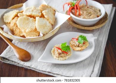 Kao Tung Na Tang - Crispy rice cake and pork and shrimp dipping