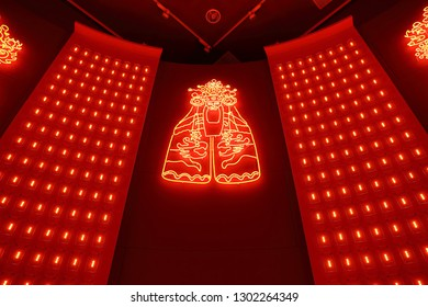 Kaohsiung City , Taiwan - 18th , Auguest 2018 : red light of Buddha at Hongmaogang in Taiwan