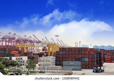 Kaohsiung City , Taiwan - 18th , Auguest 2018 : Equivalent Unit , Container Ship, Container Stacker at Hongmaogang in Taiwan