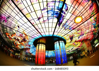 KAOHSIUNG CITY, TAIWAN - CIRCA Feb. 2013 : The Dome of Light at Formosa Boulevard Station, the central station of Kaohsiung subway system in Kaohsiung City, Taiwan circa Feb 2013
