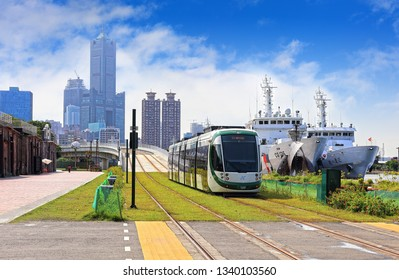 Kaohsiung City , Taiwan - July 5th,2018 : light rail transit at Pier-2 Art Center in Taiwan