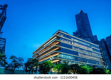 Kaohsiung City, Taiwan - June 8, 2018: The Kaohsiung Public Main Library is located within the Asia New Bay Area, opened for all of its citizens.