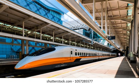 Kaohsiung City, Taiwan - March 1, 2015: A northbound Taiwan High Speed Rail (THSR/HSR) train at Zuoying Station, ready to depart to Taipei.
