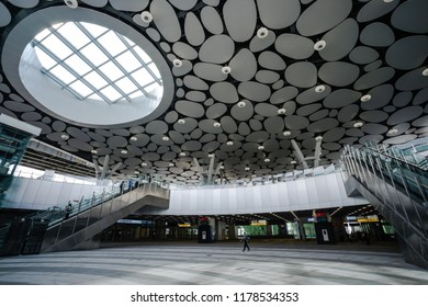 Kaohsiung City, Taiwan - September 11th, 2018:The new Kaohsiung main station of Taiwan Railways Administration. Also its station Number of Kaohsiung Rapid Transit Corporation is R11.