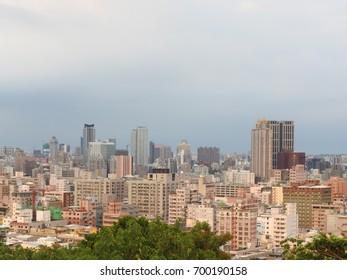 Kaohsiung City,Taiwan-August 19,2017:City landscape from above, many high-rise buildings below.Kaohsiung City is a heavy industrial city, sunny throughout the year, a pleasant climate.