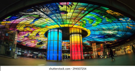KAOHSIUNG, TAIWAN - APR 21 : The Fomosa Bolevard Station, this station has beautiful Dome of Light, the central station of Kaohsiung subway system in Kaohsiung, Taiwan on April 21, 2015