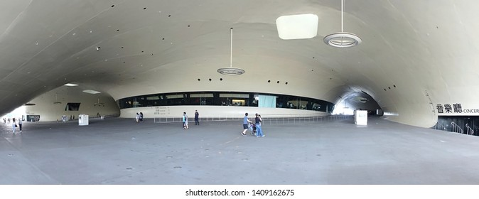 KAOHSIUNG, TAIWAN -- APRIL 14, 2019: The entrance area of the recently completed National Center for the Performing Arts located in the Weiwuying Metropolitan Park