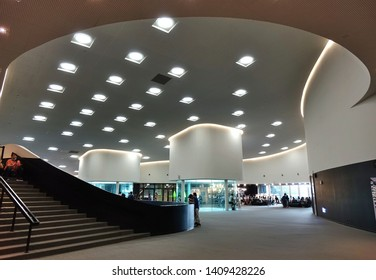 KAOHSIUNG, TAIWAN -- APRIL 14, 2019: The interior public areas of the recently completed National Center for the Performing Arts located in the Weiwuying Metropolitan Park