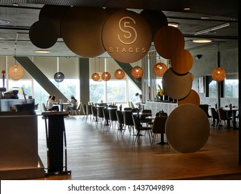 KAOHSIUNG, TAIWAN -- APRIL 14, 2019: A restaurant in the public areas of the recently completed National Center for the Performing Arts located in the Weiwuying Metropolitan Park