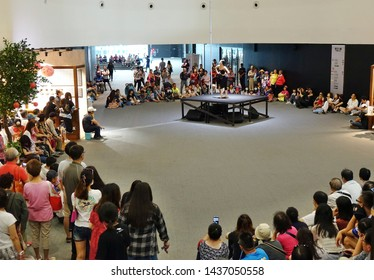 KAOHSIUNG, TAIWAN -- APRIL 14, 2019: A dance performance in the ipublic areas of the recently completed National Center for the Performing Arts located in the Weiwuying Metropolitan Park