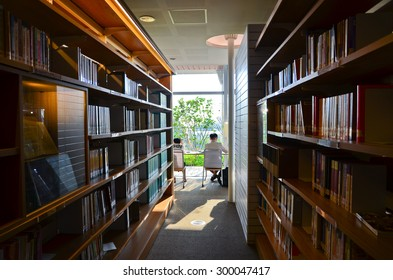 Kaohsiung, Taiwan - April 5, 2015 : People studying in the city library in Kaohsiung, Taiwan on April 5, 2015.