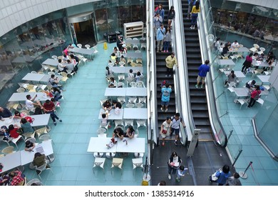 KAOHSIUNG, TAIWAN -- APRIL 5, 2019: An outdoor sitting area in the basement of the Hanshin department store.