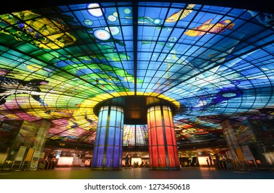 KAOHSIUNG, TAIWAN - APRIL 6, 2018 - Dome of Light glass mural installation at Formosa Boulevard Station