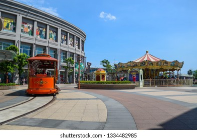 Kaohsiung, Taiwan - AUG 05, 2018: Amusement park in Kaohsiung - Taroko Park.Taroko Park is one of the biggest Amusement Park and shopping mall in Kaohsiung Port.
