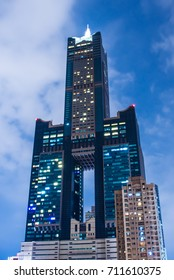 Kaohsiung, Taiwan - August 04, 2015 : Kaohsiung 85 Sky Tower at night