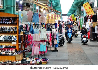 KAOHSIUNG, TAIWAN -- AUGUST 18, 2018: The Nan Hua tourist market sells mainly affordable clothing and shoes for cildren and young people.