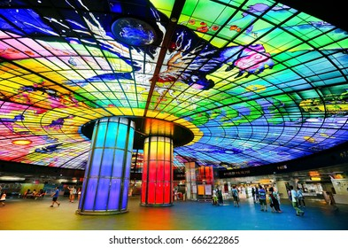 Kaohsiung, Taiwan - August 23, 2015: View of the colorful artwork in a metro station in Kaohsiung, Taiwan on August 23, 2015.