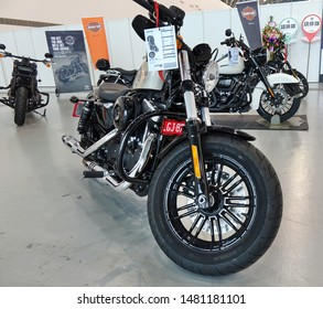 KAOHSIUNG, TAIWAN -- AUGUST 3, 2019: Harley Davidson motorcycles are on display at the Kaohsiung Exhibition Center.