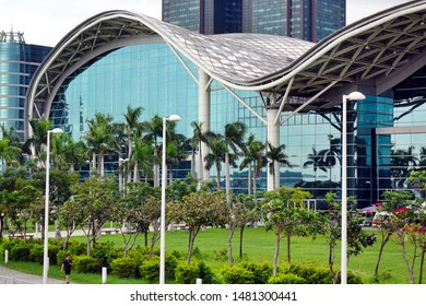 KAOHSIUNG, TAIWAN -- AUGUST 3, 2019: A partial view of the new  Kaohsiung Exhibition Center as seen from waterfront