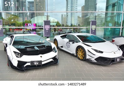 KAOHSIUNG, TAIWAN -- AUGUST 3, 2019: Lamborghini luxury sports cars are on display at the Kaohsiung Exhibition Center.