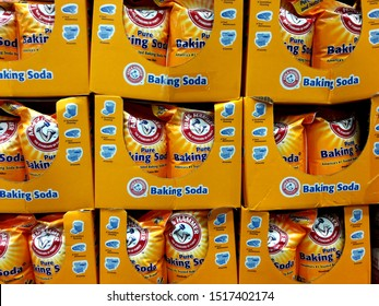 Kaohsiung, Taiwan, August 8, 2019: Arm&Hammer baking soda is sold on the 6.12KG supermarket rack of Church & Dwight Co. Inc. (1 bag), the leading premium baking soda brand in the United States.