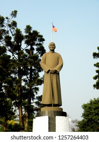 Kaohsiung, Taiwan - Clarification Lake December 13, 2018: The bronze statue of Chiang Kai-shek, completed in the second year after Chiang Kai-shek's death in 1976.