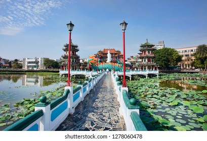 Kaohsiung, Taiwan - Dec.9,2018 - Dragon and Tiger Pagoda walkway in the Lotus Lake in Kaohsiung, Taiwan.